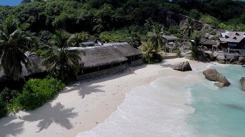 The aerial view of Anse Takamaka, Mahe island, Seychelles