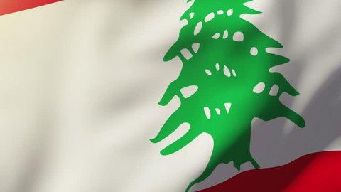 Lebanon flag waving in the wind. Looping sun rises style.  Animation loop
