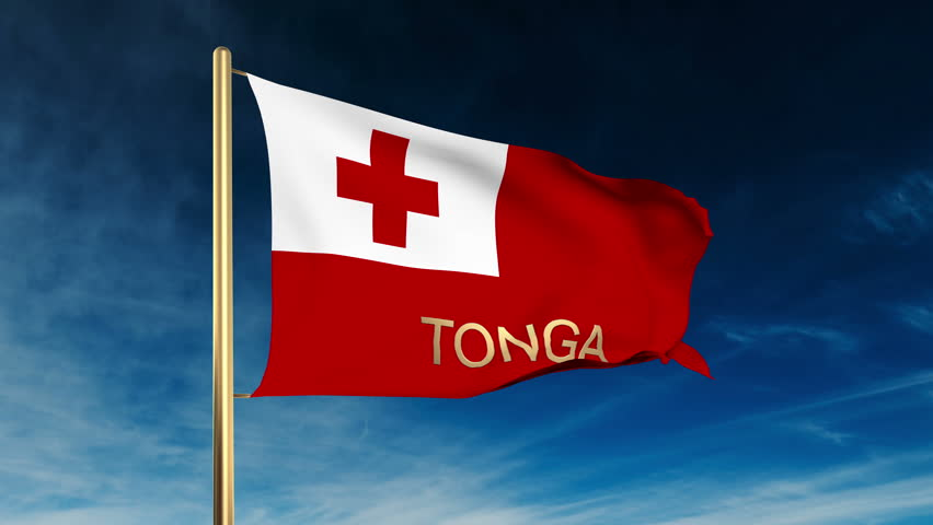 Tonga Flag Slider Style With Title Waving In The Wind Cloud Background Animation
