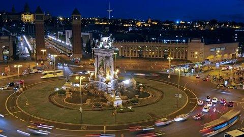 Time-lapse of Placa De Espanya( Square of Spain). Barcelona, Spain