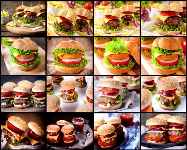 Photo collage of different kinds of burgers