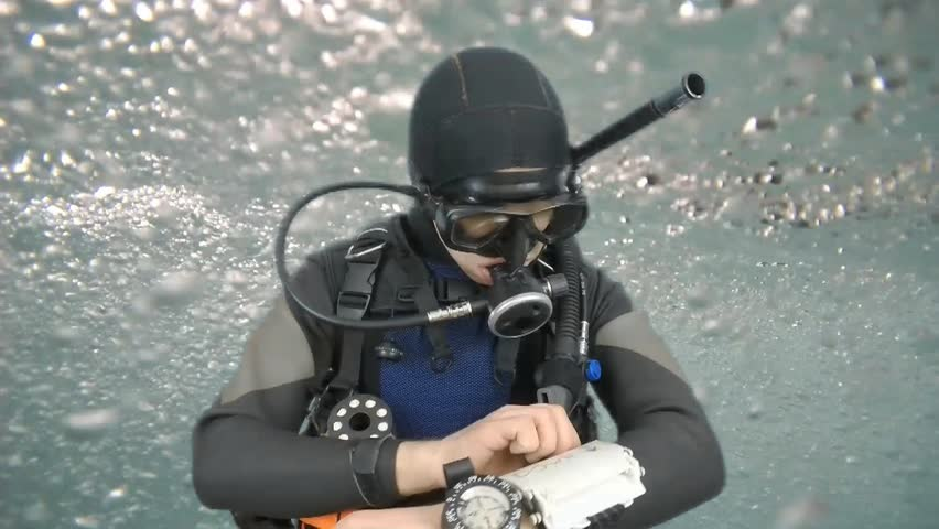 Dive instructor shows sing:GO DOWN also a available on the green screen all of diving sings from course  with full dive gear (open water diver) all background from movies separately in portfolio.   | Shutterstock HD Video #9443660