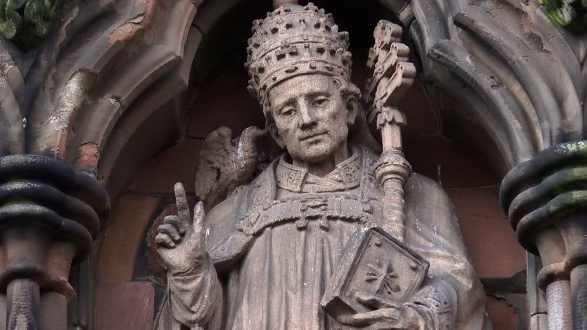 LICHFIELD ENGLAND. APRIL 2015 - Lichfield Cathedral Statues of Saints - Lichfield, England - April 2015