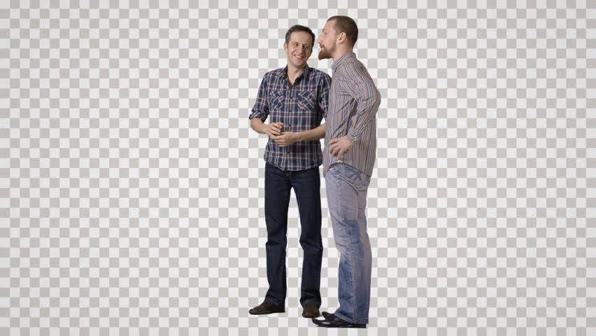 Two men in casual clothing stand side by side, talks, laugh Side view. Footage with alpha channel. File format - mov. Codeck - PNG+Alpha Combine these footage with other people to make crowd effect