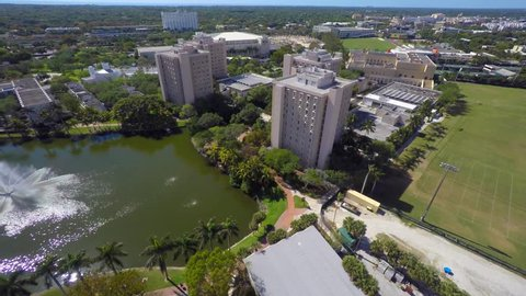 Aerial video of a university camppus in South Florida 4k