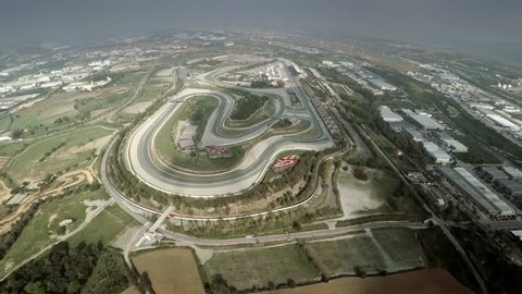 Aerial 4k Shoot Montmelo Circuit for Formula 1 in Spain