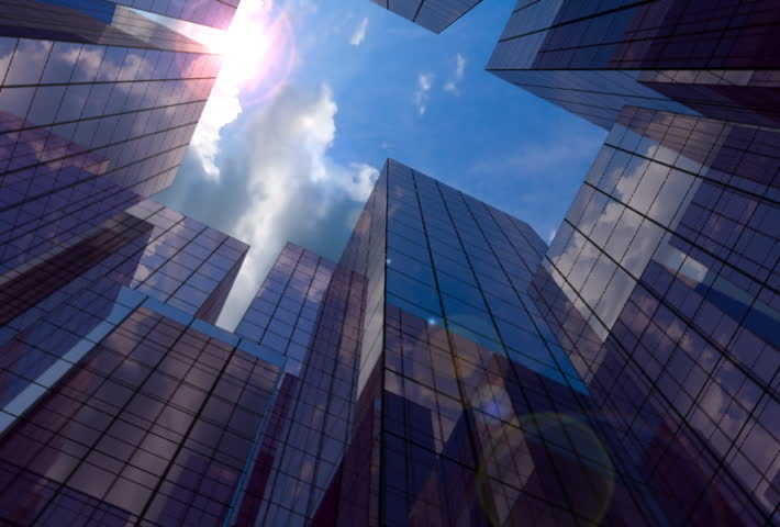 20 Seconds loop of corporate buildings with lens reflections