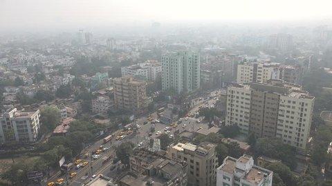 High angle view of Kolkata city, India.