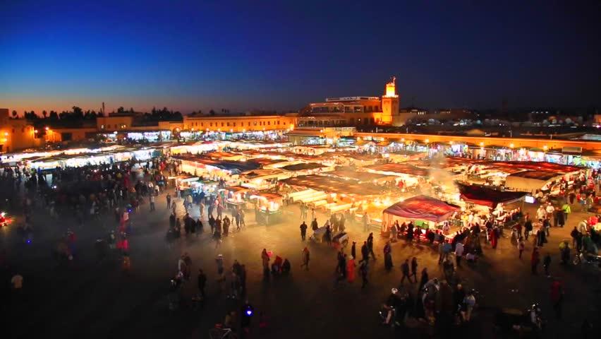 Jamaa el Fna square at night , marrakesh, morocco