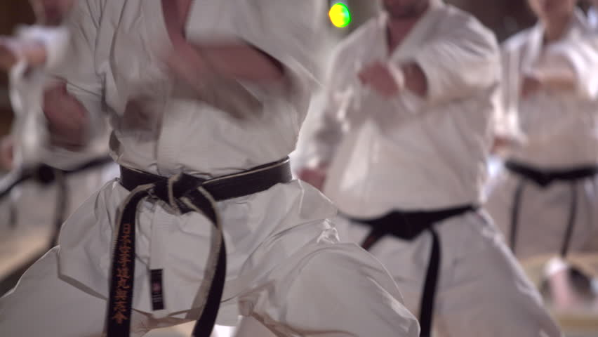 group of people practicing karate kata