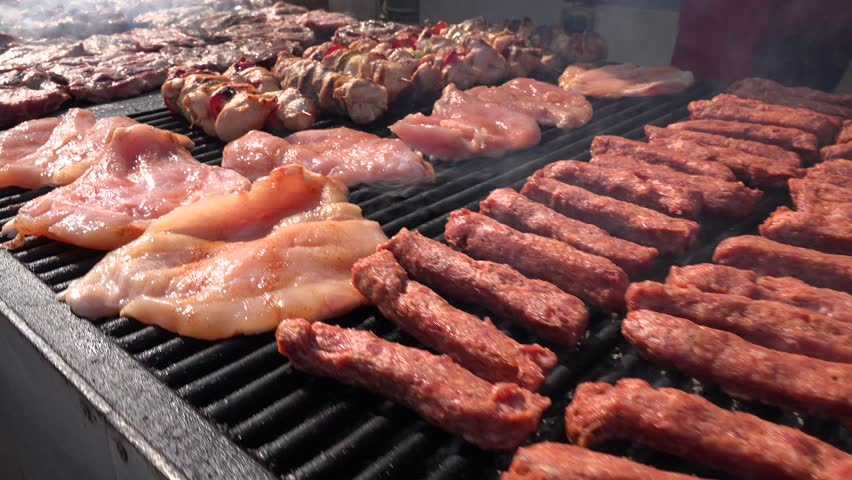4K Grill, Frying Fresh Meat, Chicken Barbecue, Sausage, Kebab, Hamburger, BBQ at Picnic