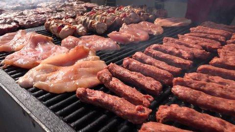 4K Grill, Frying Fresh Meat, Chicken Barbecue, Sausage, Kebab, Hamburger, BBQ at Picnic
