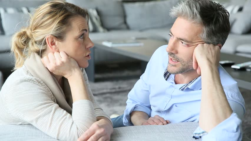 Talking 9598355 Footage Shutterstock Stock Royalty-free Mature In Couple Video Sofa 100