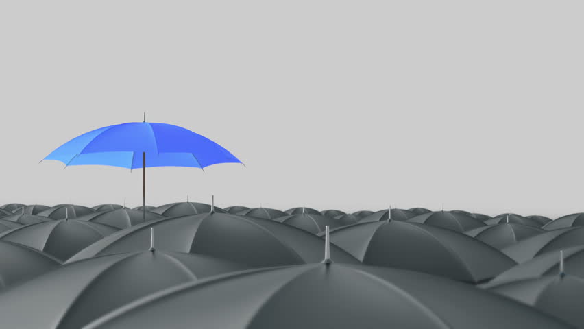 Blue umbrella open and standing out from crowd mass grey umbrellas, design background text concept, with color mask