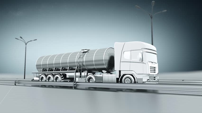 Monochrome tanker gas truck on a highway. Side view. Looping animation background. #9637265