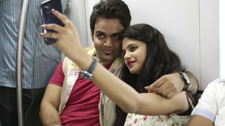 Young Indian Couple Inside Metro Stock Footage Video 100 -6655