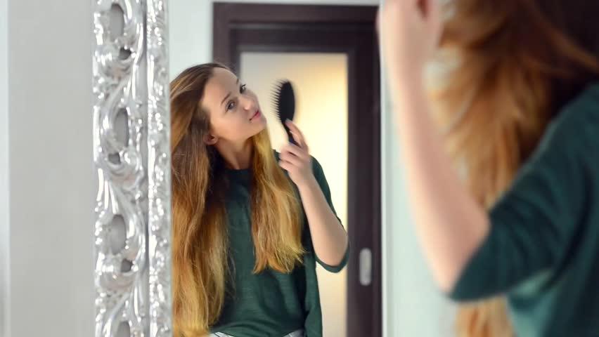 Beauty Teenage Girl Brushing Her Stock Footage Video 100 Royalty