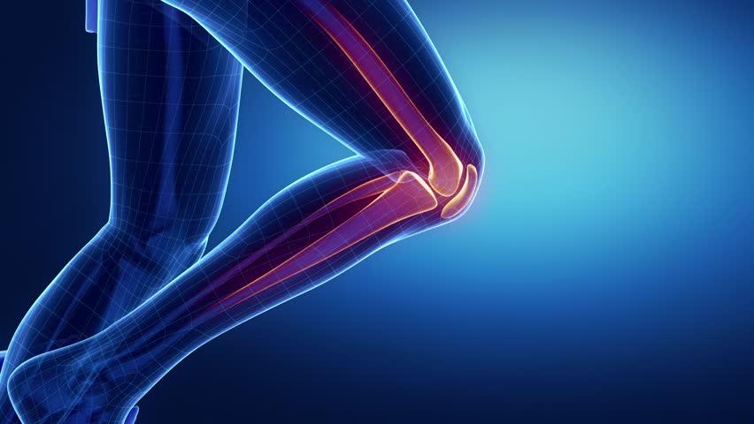 Running man focused on knee bones