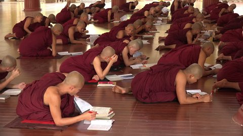 BAGO, BAGO REGION/MYANMAR - FEBRUARY 07, 2015: Unidentified Monks in Monastery learning with books in class. Burma has the most monks in proportion to the population.