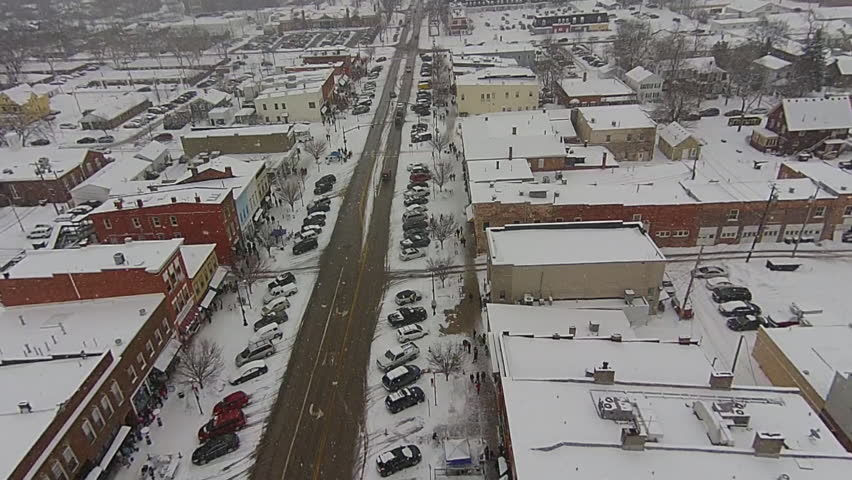 Snowy Historic Perrysburg, Ohio Aerial View | Shutterstock HD Video #9709775