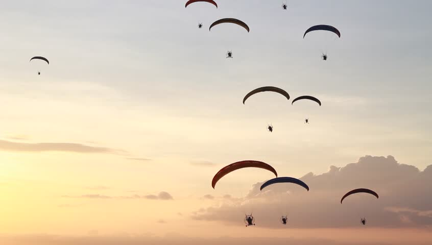 HD : group of paraglider with orange sunset sky
