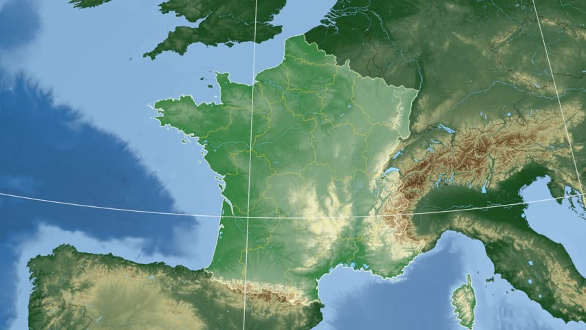 Alsace region extruded on the physical map of France. Rivers and lakes shapes added. Colored elevation data used. Elements of this image furnished by NASA.