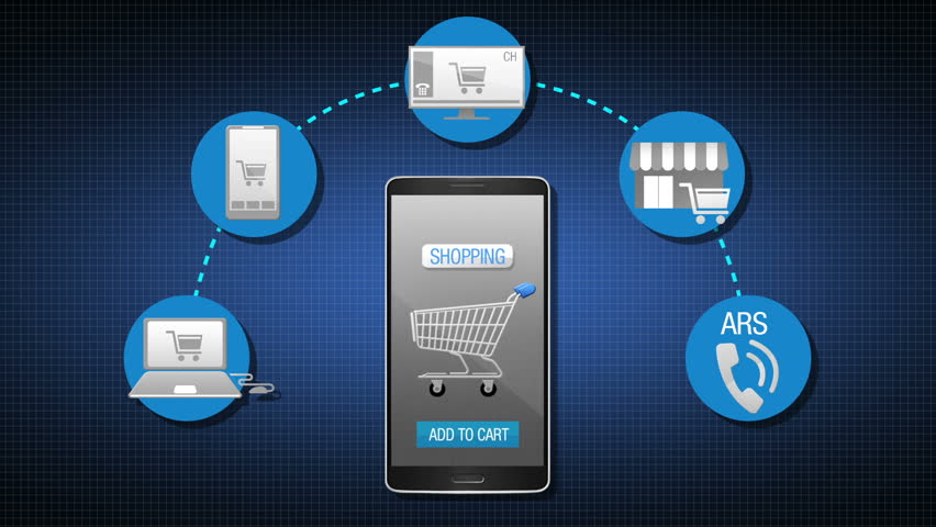 Mobile shopping, on line shopping,offline shopping, Explain increasing shopping channel and payment concept animation, using smart phone.    Shutterstock HD Video #9740099