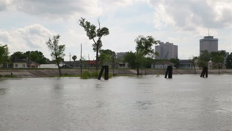 Mississipi river levee protecting New Orleans, Louisiana, USA