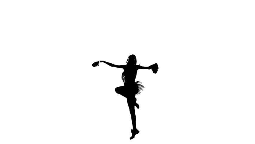 A young cheerleading girl , pom-pom isolated on white, performs acrobatics, Silhoutte, slow motion   Shutterstock HD Video #9744125