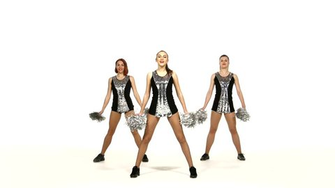 Girl in black costume  with pom-poms dancing on cheerleading competitions. on a white background, dancing, acrobatics, gymnastics, synchronized movement
