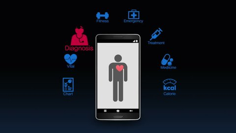 Health care application function for smart phone,mobile 1 (included Alpha)