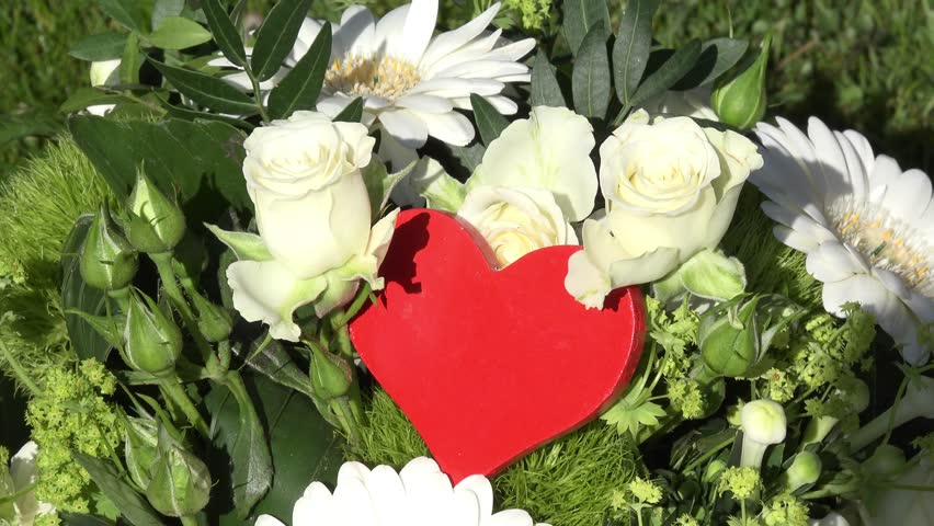 red heart on White flowers #9793655