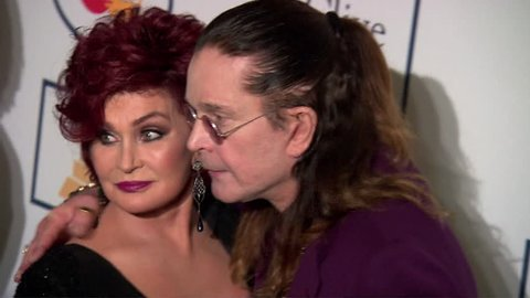 Beverly Hills, CA - January 25,2014: Sharon Osbourne and Ozzy Osbourne at Pre-Grammy Gala 2014, Beverly Hilton Hotel