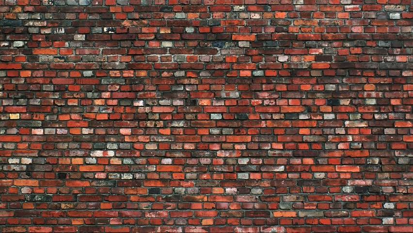 Graffiti sprays on to brick wall.