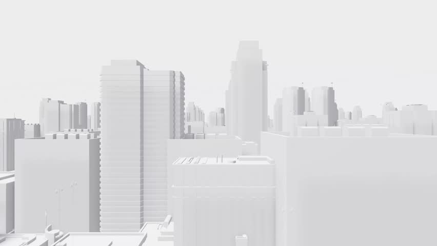 camera fly through an abstract city buildings with different height