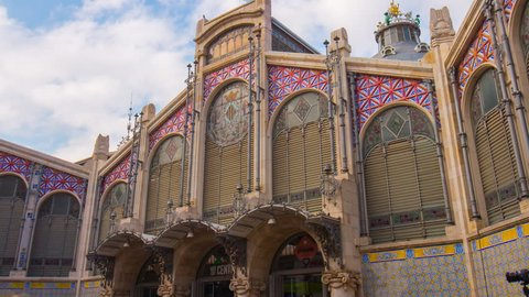 central market building in valencia city 4k time lapse spain