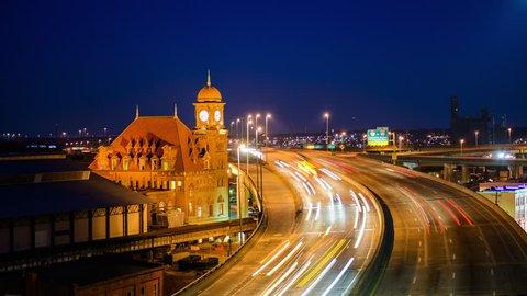 Richmond, Virgina, USA at historic Main Street Station and Interstate 95.