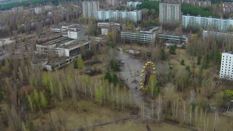 Drone footage. Pripyat, Ukraine. Located within the Chernobyl disaster zone. Now it's a ghost town.
