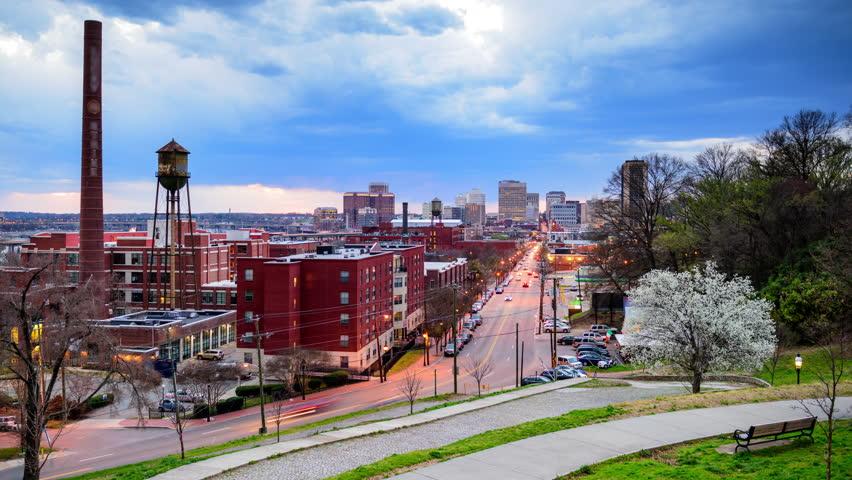Richmond Virginia USA Downtown Skyline Time Lapse Over Main - Usa virginia