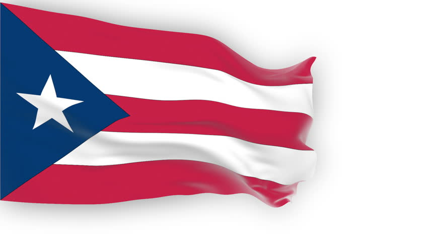 Puerto Rico flag slowly waving. White background. Seamless loop.