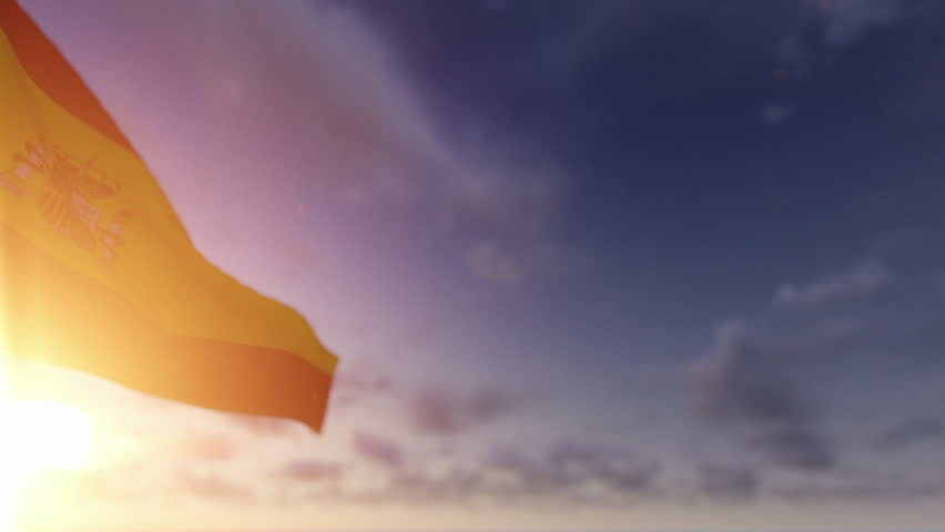 Spain Flag against Time Lapse Clouds