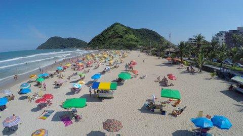 A Crowd Beach on a Summer Day in Brazilian Coastline