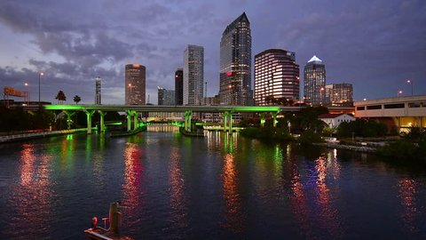 Tampa, Florida, USA downtown skyline footage at twilight.