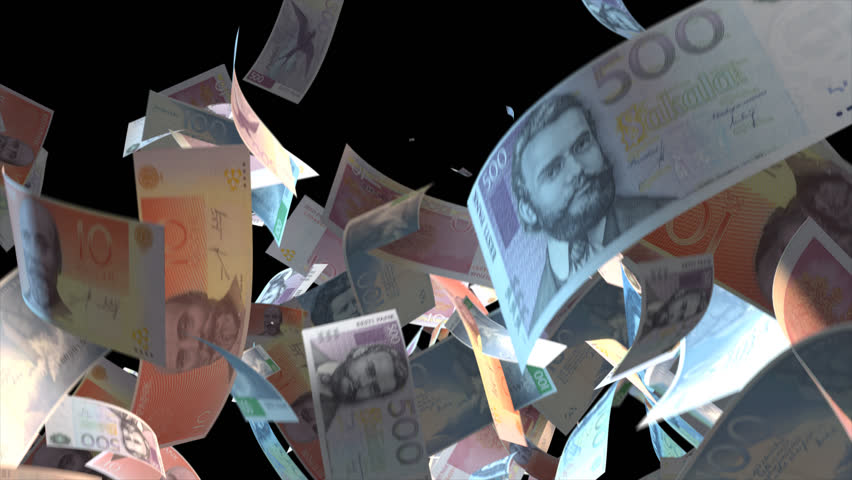 Falling Estonia money banknotes