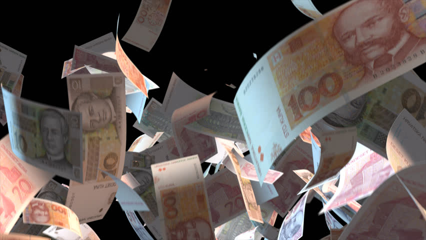 Falling Croatia money banknotes 