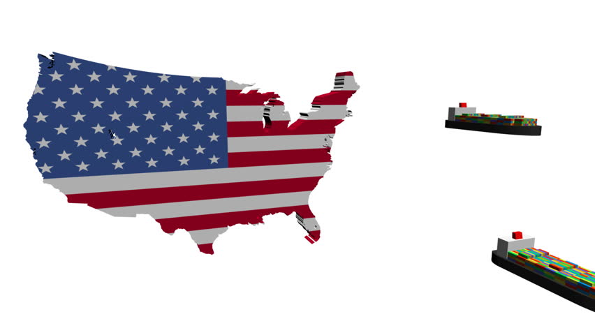Usa Map Flag with Container Stock Footage Video (100% Royalty-free ...