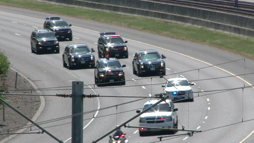 Portland, Oregon - May 2015: President Barack Obama being transported in highly secure motorcade while visiting Portland Oregon.