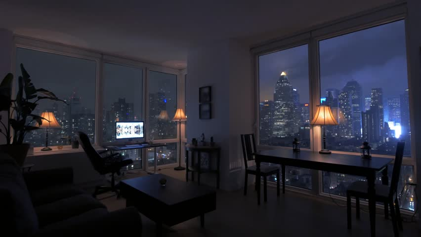 High Rise Apartment Inside amazing view of high rise apartment loft at night. urban city