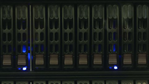 servers stack with hard drives in a datacenter for backup and data storage (Hd, seamless loop, 1920x1080, 1080p, high definition)